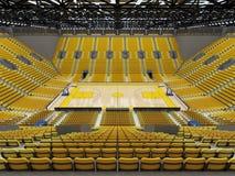 3D framför av den härliga sportarenan för basket med gula platser Fotografering för Bildbyråer