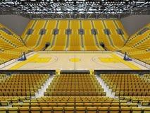 3D framför av den härliga sportarenan för basket med gula platser Royaltyfri Fotografi