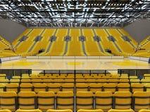 3D framför av den härliga sportarenan för basket med gula platser Arkivfoton
