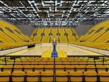 3D framför av den härliga sportarenan för basket med gula platser Royaltyfria Bilder