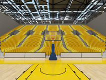 3D framför av den härliga sportarenan för basket med gula platser Arkivbilder