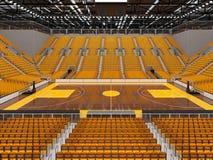 3d framför av den härliga sportarenan för basket med gula platser och storgubbeaskar Royaltyfria Bilder