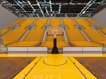 3d framför av den härliga sportarenan för basket med gula platser och storgubbeaskar Royaltyfria Foton