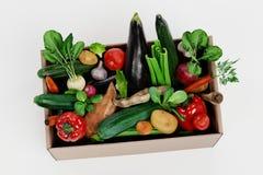 3D framför av den pappers- asken med grönsaken fotografering för bildbyråer