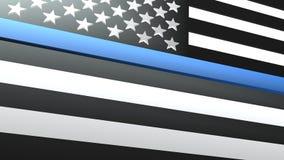 3d framför av den tunna Blue Line USA flaggan Royaltyfri Fotografi