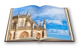 3D framför av detaljen av fasaden av den Batalha domkyrkan i Po Royaltyfri Bild