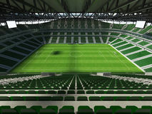 3D framför av en fotboll för stor kapacitet - fotbollsarena med ett öppet tak och gör grön platser Arkivbild