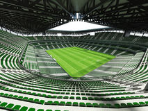 3D framför av en fotboll för stor kapacitet - fotbollsarena med ett öppet tak och gör grön platser Royaltyfri Bild
