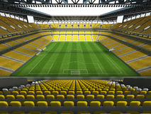 3D framför av en fotboll för stor kapacitet - fotbollsarena med ett öppet tak och gulnar platser Arkivbild