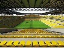 3D framför av en fotboll för stor kapacitet - fotbollsarena med ett öppet tak och gulnar platser Royaltyfri Fotografi