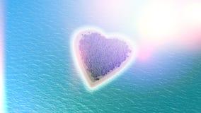 3D framför av en hjärta formad ö med retro effekt Arkivbild