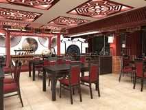 3d framför av en kinesisk restauranginre Arkivfoton