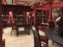 3d framför av en kinesisk restauranginre Royaltyfri Bild