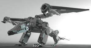 3d framför av en metallisk robotdrake Royaltyfri Bild