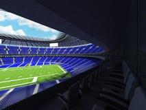 3D framför av en rund fotbollsarena med blåa platser för hundratusen fans Royaltyfri Foto