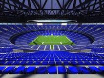 3D framför av en rund fotbollsarena med blåa platser för hundratusen fans Arkivbilder