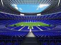 3D framför av en rund fotbollsarena med blåa platser för hundre Fotografering för Bildbyråer