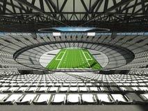 3D framför av en rund fotbollsarena med vita platser för hundr Royaltyfri Foto