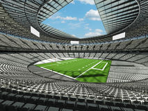 3D framför av en rund fotbollsarena med vita platser för hundr Arkivfoto