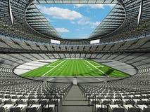 3D framför av en rund fotbollsarena med vita platser för hundratusen fans Arkivbild