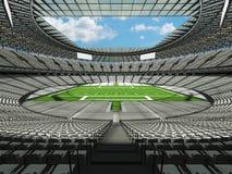 3D framför av en rund fotbollsarena med vita platser för hundratusen fans Arkivfoton