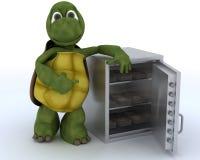 Sköldpadda med en kassaskåp som är full av pengar stock illustrationer