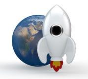 3D framför av en symbolisk vit raket med flammor Royaltyfri Fotografi