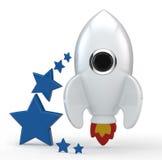3D framför av en symbolisk vit raket med flammor Arkivfoto