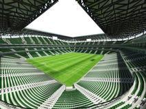 3D framför av enfotboll för stor kapacitet stadion med ett öppet tak och gör grön platser Arkivbilder