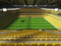 3D framför av enfotboll för stor kapacitet stadion med ett öppet tak och gulnar platser Arkivfoton