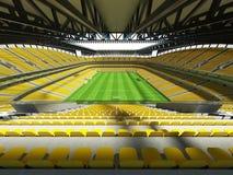 3D framför av enfotboll för stor kapacitet stadion med ett öppet tak och gulnar platser Arkivfoto