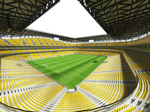 3D framför av enfotboll för stor kapacitet stadion med ett öppet tak och gulnar platser Royaltyfria Foton