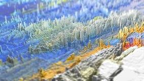 3D framför av ett abstrakt landskap som göras av mycket små kuber Royaltyfri Foto