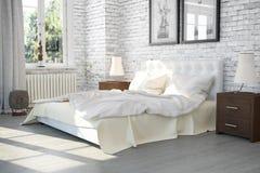 3d framför av ett modernt sovrum i en gammal byggnad - den conc inre vektor illustrationer