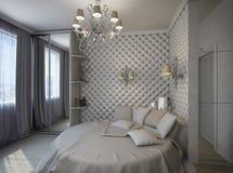 3D framför av ett vitt sovrum i klassisk stil Royaltyfri Fotografi