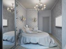 3D framför av ett vitt sovrum i klassisk stil Arkivfoto