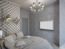 3D framför av ett vitt sovrum i klassisk stil Arkivbilder