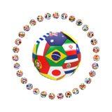 3D framför av gruppen av fotboll Royaltyfri Bild