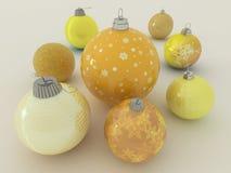 3D framför av guling och guld- feriegarneringstruntsaker Arkivfoto
