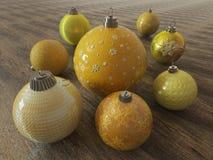 3D framför av guling och guld- feriegarneringstruntsaker på träyttersida Royaltyfria Bilder