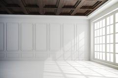 3d framför av härlig inre med vita väggar och det wood taket stock illustrationer