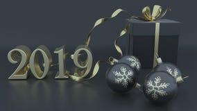3D framför av jul och bakgrund för nytt år royaltyfri illustrationer