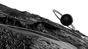 3d framför av kosmiskt landskap som bakgrund eller miljö Planeten från utrymmesikt från rymdskeppet specificerade mycket lager videofilmer