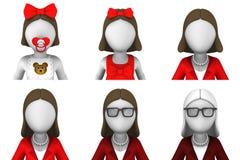 3d framför av kvinnliga avatars Royaltyfri Bild