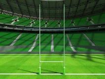 3D framför av modern rund rugbystadion med gröna platser och storgubbeaskar Arkivfoto