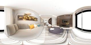 3d framför av moderna degreees för vardagsrum 360 royaltyfri illustrationer