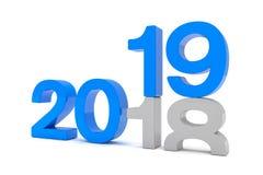 3d framför av numren 2018 och 19 i blått över den vita backgrouen Vektor Illustrationer