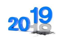 3d framför av numren 2018 och 19 i blått över den vita backgrouen Stock Illustrationer