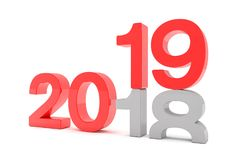 3d framför av numren 2018 och 19 i rött över vit backgroun Royaltyfri Illustrationer