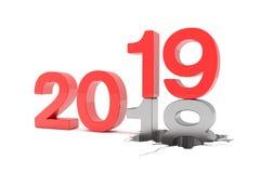 3d framför av numren 2018 och 19 i rött över vit backgroun Vektor Illustrationer